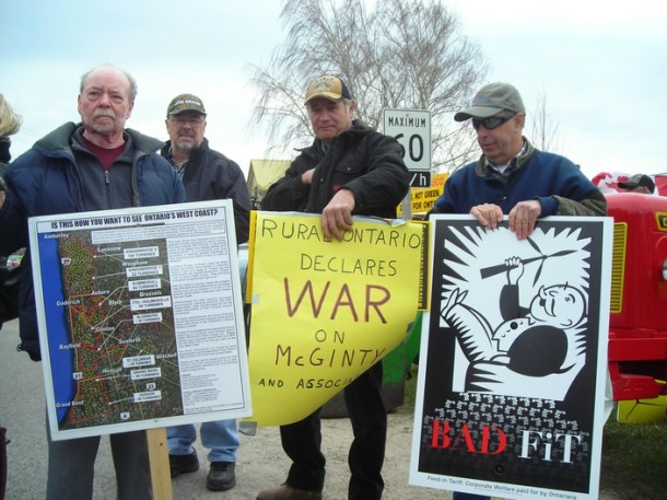 Port Elgin protesters against the  CAW wind turbine -- April 14, 2012