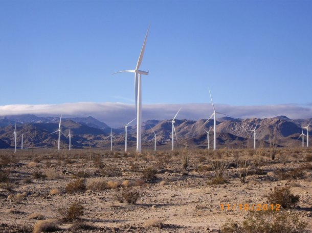 Southwest view to In Ko Pah Mountain Range. Interstate I-8 on left. 14 Turbines of the 112 total. Note: 262 Ft. to nacelle, blades of 173 ft. long. Blades reach 449 ft. high.