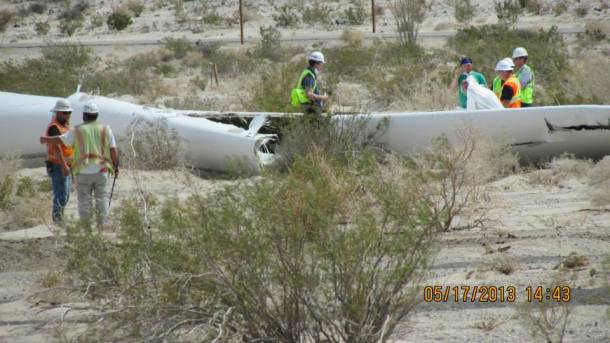 Ocotillo Wind Energy Facility, thrown blade from a Siemens 2.3-108 turbine. All Siemens 2.3-108 turbines shut down globally.
