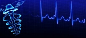 stock-footage-rotating-medical-healthcare-symbol-over-ekg-background