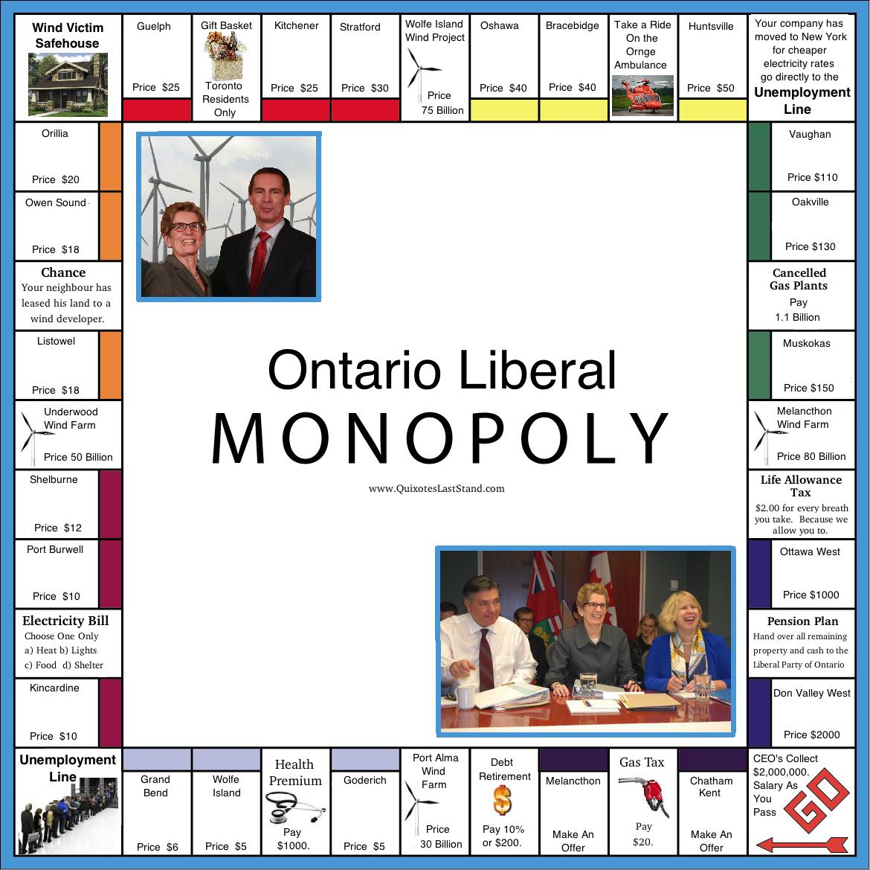 """Quixotes' """"Ontario Liberal Monopoly Game"""" Merits An"""